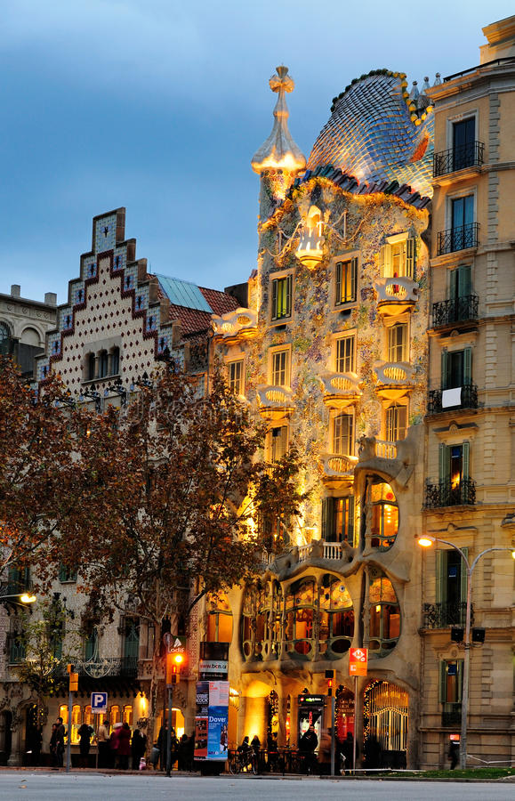 Casa Battlo, Barcelona stock afbeeldingen