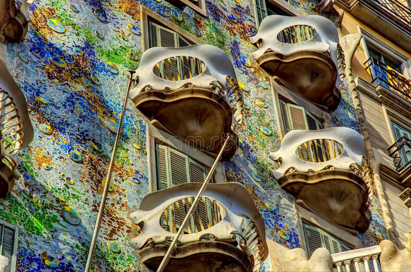 Casa Battlo. Casa Batlló (Catalan pronunciation: [ˈkazə βəˈʎːo]) is a renowned building located in the center of Barcelona and is one royalty free stock photography