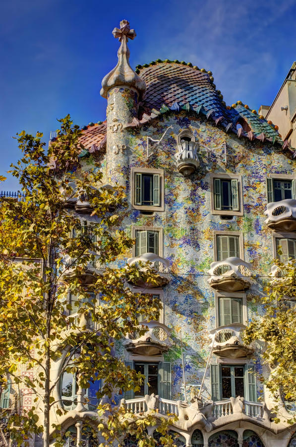 Casa Battlo. Casa Batlló is a renowned building located in the center of Barcelona and is one of Antoni Gaudí's masterpieces. A remodel of a stock photo