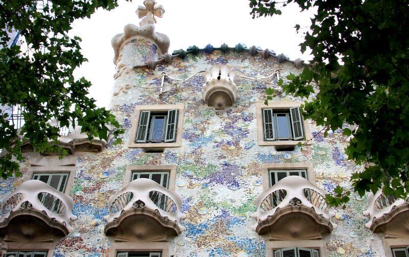 Casa Battlo, catalan modernism, Barcelona. Casa Battlo, located at 43, Passeig de Gracia, is a building restored by Antoni Gaudi and Josep Maria Jujol, built in stock photo