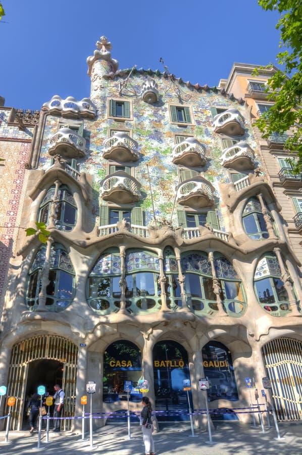 Casa Battlo domu fasada Antonio Gaudi w Barcelona, Hiszpania zdjęcie stock