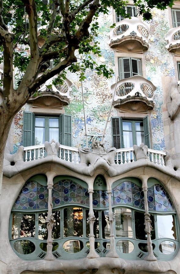 Casa Battlo, example of modernism, Barcelona. Casa Battlo, located at 43, Passeig de Gracia, is a building restored by Antoni Gaudi and Josep Maria Jujol, built royalty free stock photo