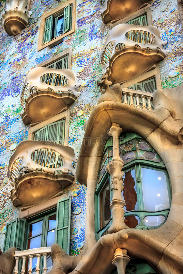 Casa Battlo. One of Antoni Gaudi famous designs stock photography