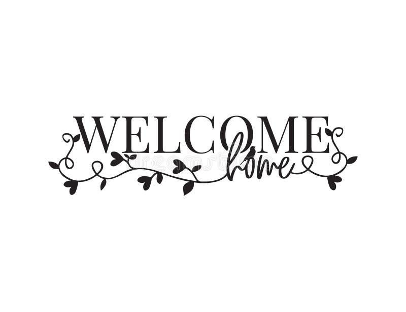 Casa bem-vinda, exprimindo o projeto, decoração da parede, decalques da parede, Art Decor, vetor do projeto do cartaz, ramo com c ilustração royalty free