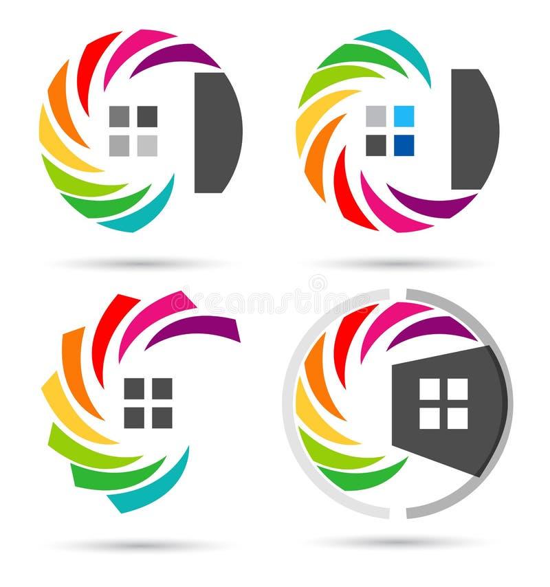 A casa, bens imobiliários, casa do círculo, logotipo, grupo de arco-íris colorize o projeto do vetor do ícone do símbolo da const ilustração do vetor