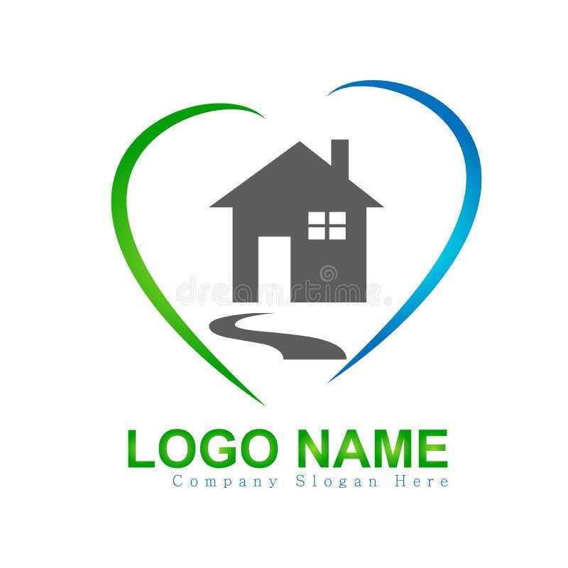 Casa, casa, bens imobiliários, logotipo do amor do coração, ícone da construção da elevação do símbolo da arquitetura para sua em ilustração royalty free