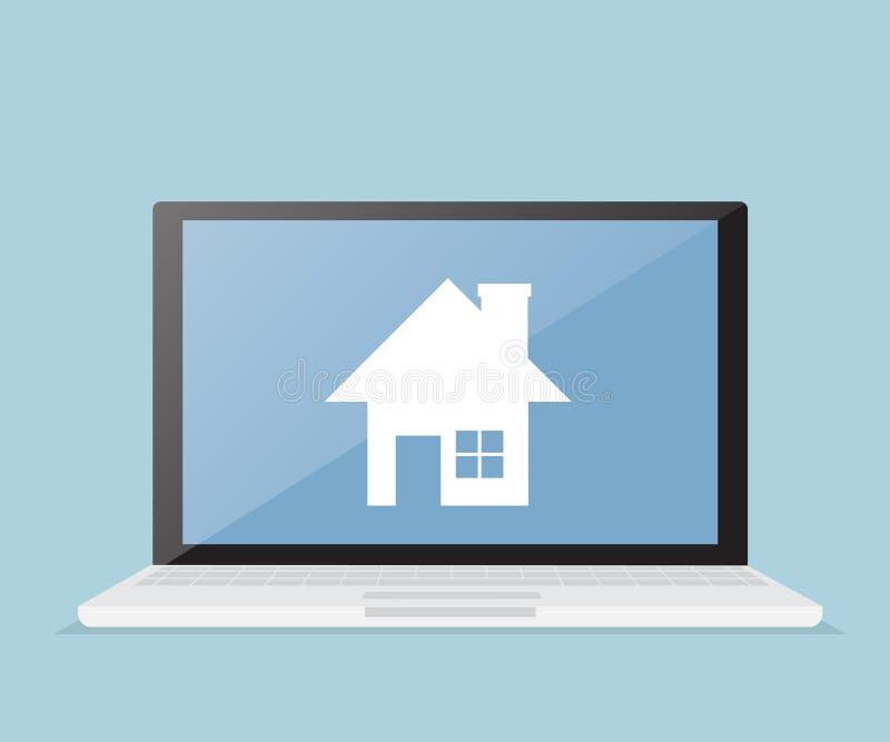 Casa, bens imobiliários na tela do portátil ilustração royalty free