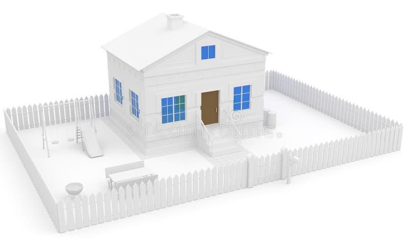Casa blanca con la ventana y el jardín azules libre illustration