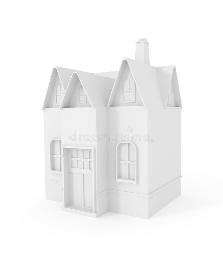 Casa blanca del icono 3D 3d rinden libre illustration