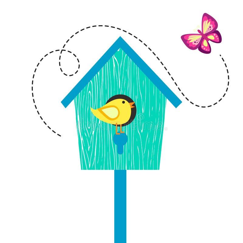 Casa blu dell'uccello del fumetto con l'uccellino sulla pertica e sulla farfalla illustrazione vettoriale