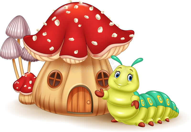 Casa bonita do cogumelo e lagarta bonito ilustração do vetor