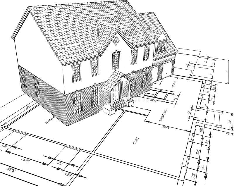 Casa bosquejada en planes stock de ilustración