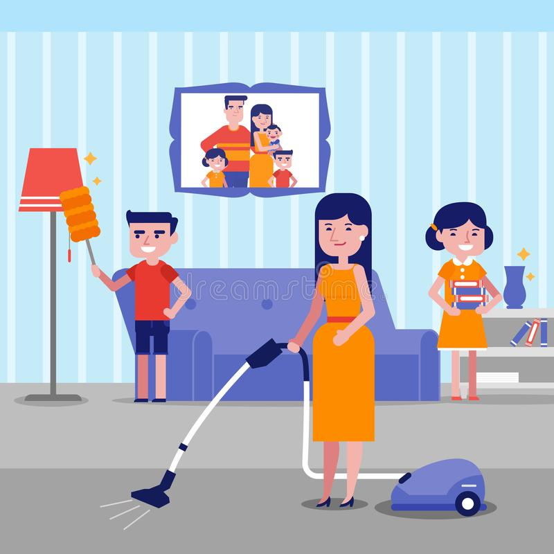 Casa branca caucasiano feliz nova da limpeza da família ilustração royalty free
