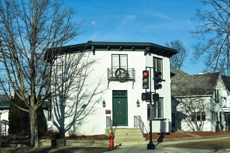 Casa branca do octógono em Decorah, Iowa fotografia de stock