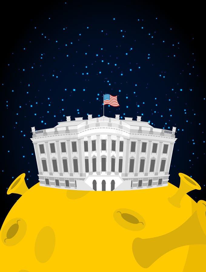 Casa branca na lua Presidente Residência dos E.U. no espaço N americano ilustração royalty free