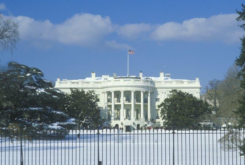 A casa branca no inverno, Washington, D C imagem de stock