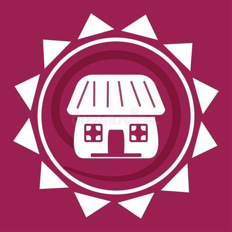 Casa branca no sol, logotipo em um fundo vermelho, vetor ilustração royalty free