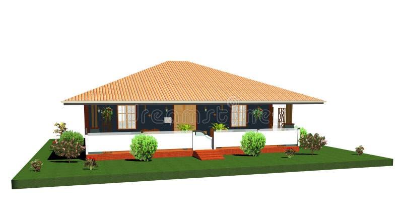 Casa-Bungalow di estate con Porch-3d illustrazione vettoriale