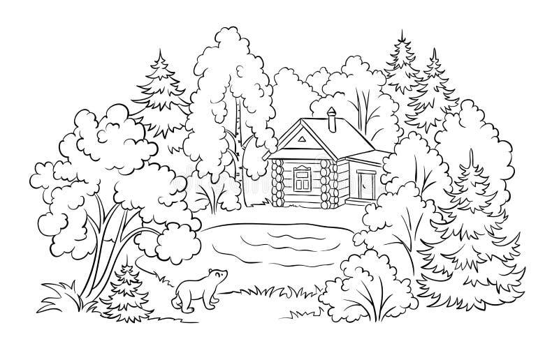 árbol Del Otoño Cerca De La Casa Blanca Stock De Ilustración