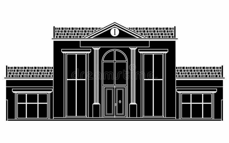 Casa clásica de la fachada Terraplén negro libre illustration