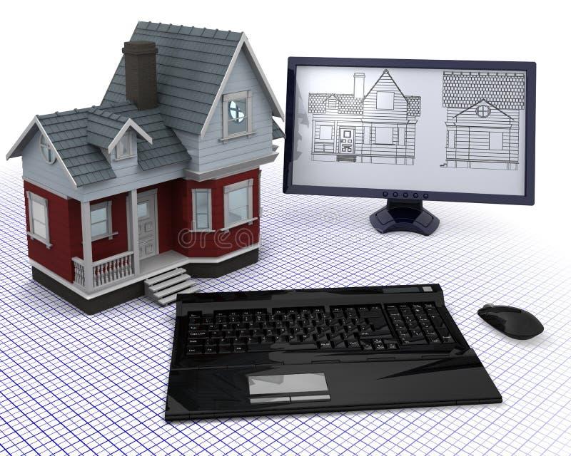 Casa clásica de la madera con el ordenador y los modelos libre illustration