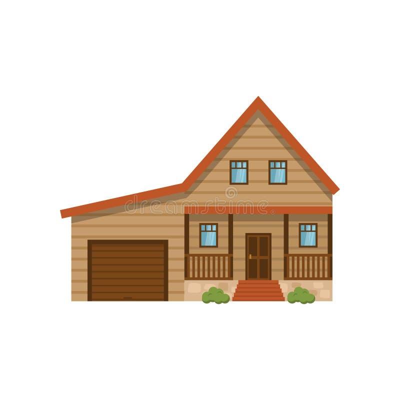 Casa clássica com a garagem isolada no fundo branco ilustração stock