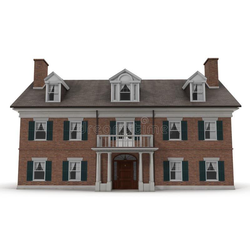 Casa coloniale della riproduzione di stile esteriore su bianco Front View illustrazione 3D fotografie stock libere da diritti