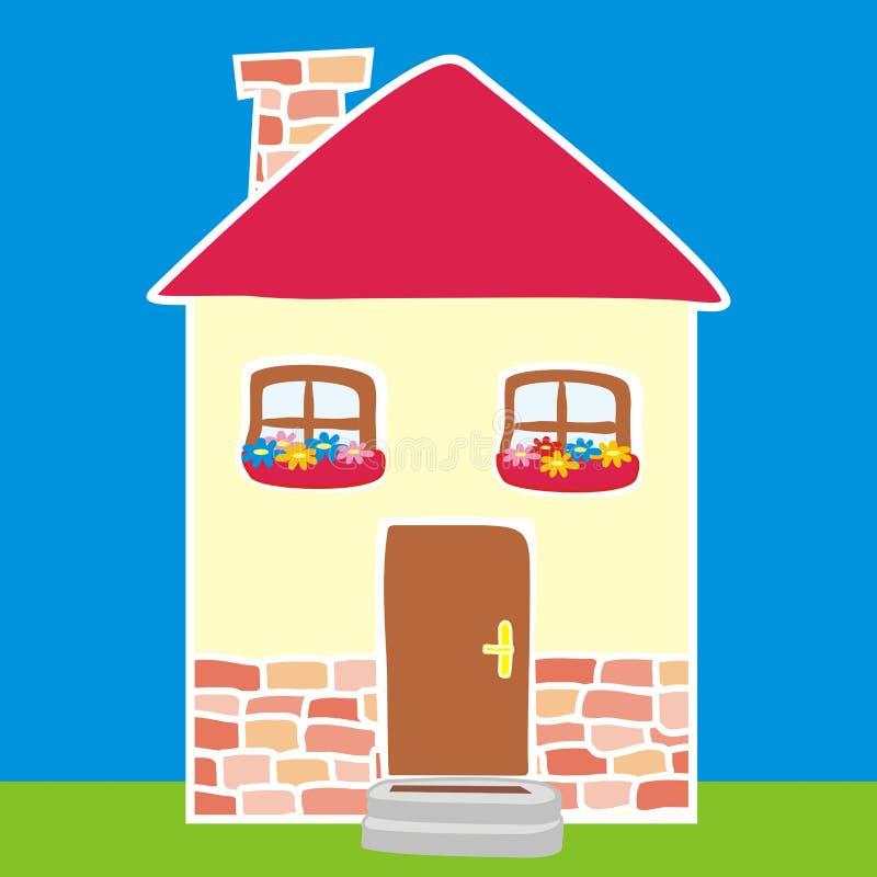 Casa colorata sui precedenti blu illustrazione vettoriale