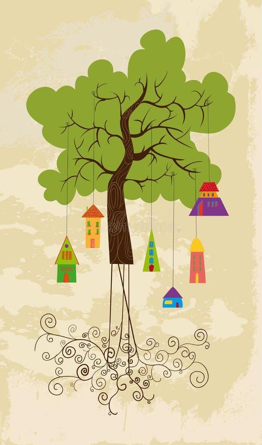 Casa colorida bonito do pássaro da árvore ilustração stock