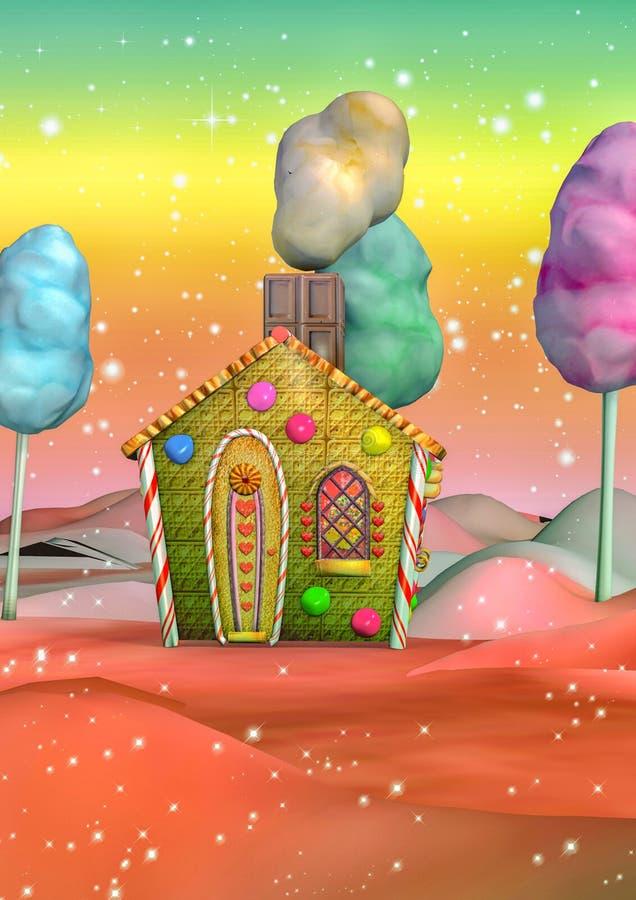 Casa colorida del caramelo stock de ilustración