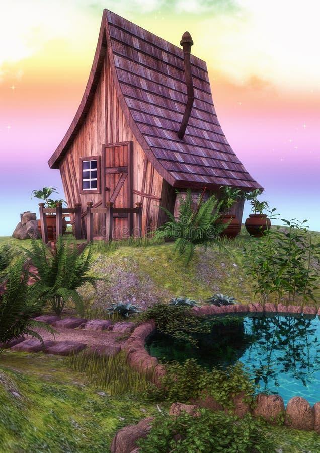 Casa colorida del cuento de hadas con un pequeño lago stock de ilustración