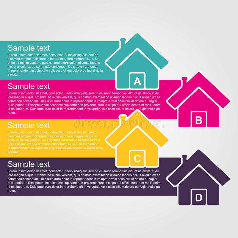 Casa colorida del estilo del diseño de Infographic stock de ilustración