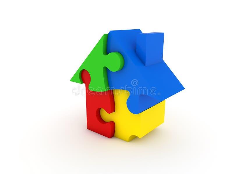 Casa colorida del rompecabezas ilustración del vector
