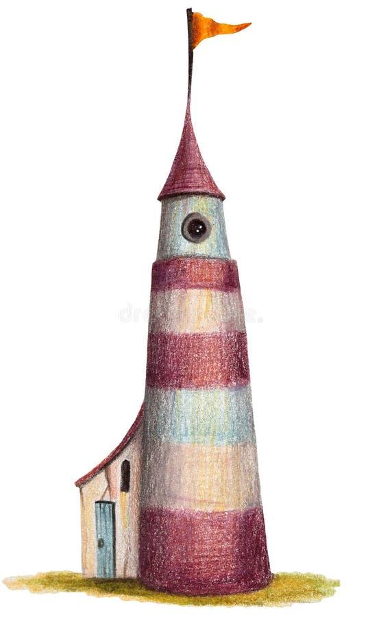 Casa colorida do desenho de lápis - 'farol ' ilustração royalty free