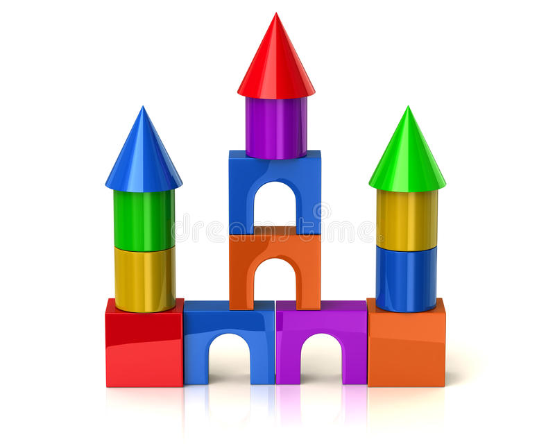 Casa colorida hecha de bloques de los niños ilustración del vector