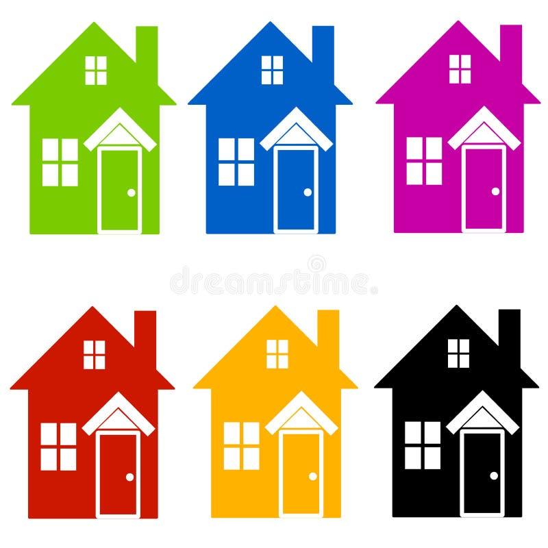A casa colorida mostra em silhueta a arte de grampo