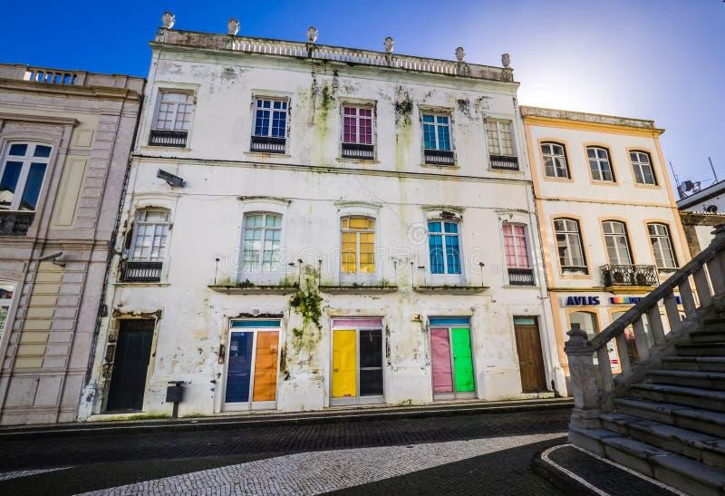 Casa colorida velha em Ponta Delgada imagem de stock