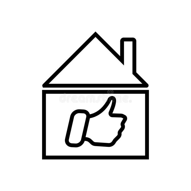 Casa com ícone como do sinal ilustração do vetor