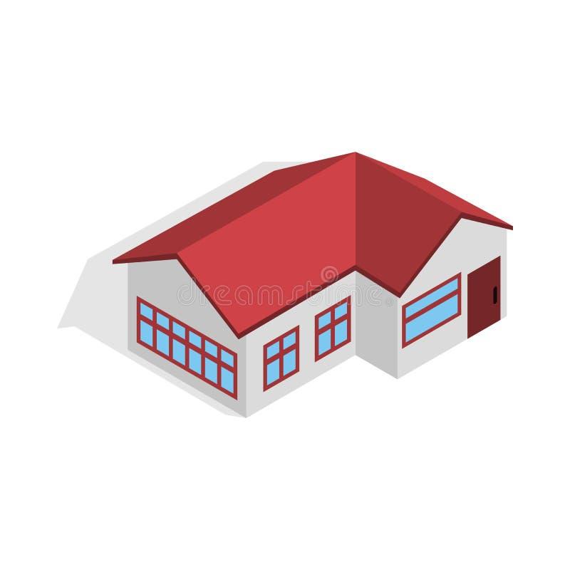 Casa com ícone vermelho do telhado, estilo 3d isométrico ilustração royalty free