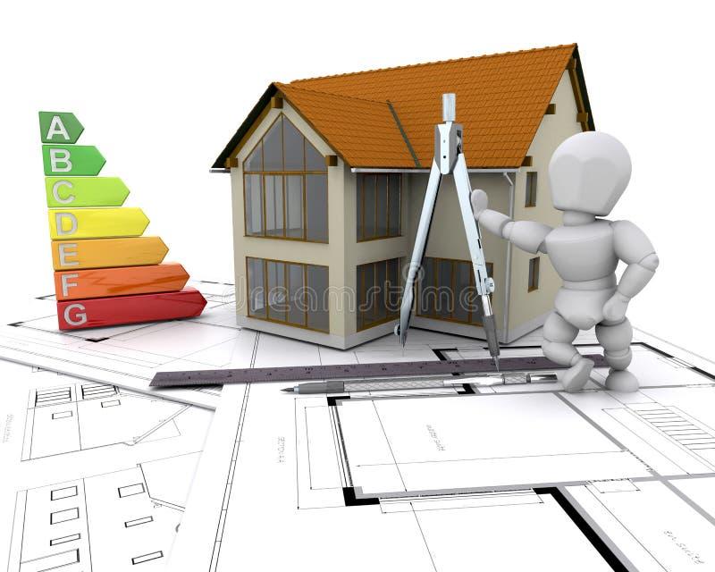 Casa com avaliação da energia ilustração stock