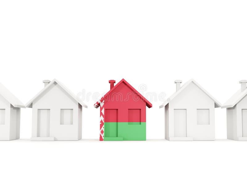 Casa com a bandeira de belarus ilustração do vetor