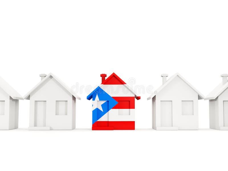 Casa com a bandeira de Puerto Rico ilustração stock