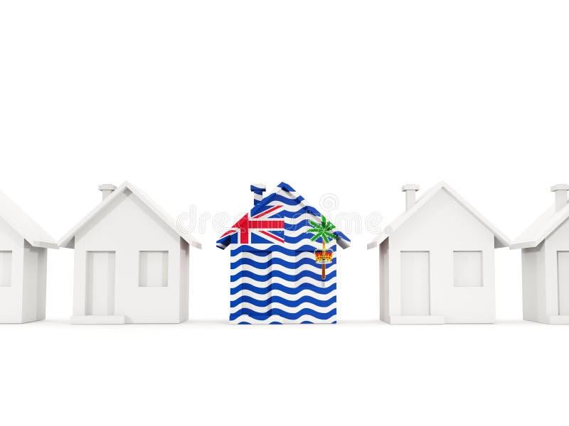 Casa com a bandeira do território de Oceano Índico britânico ilustração do vetor