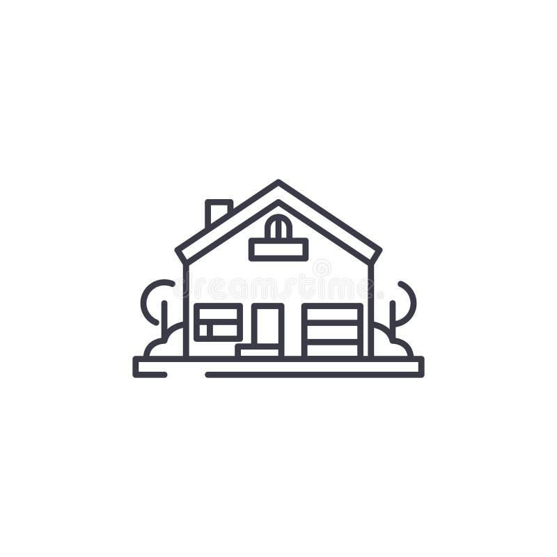 Casa com conceito linear do ícone da jarda Casa com sinal do vetor da linha de jardas, símbolo, ilustração ilustração stock