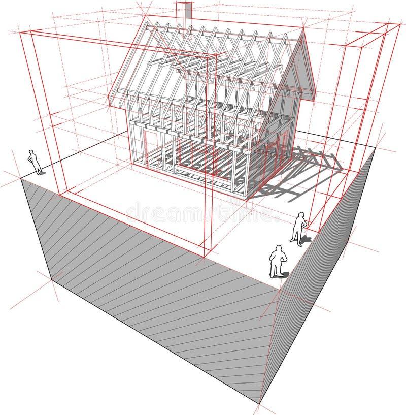 Casa com diagrama das dimensões ilustração do vetor
