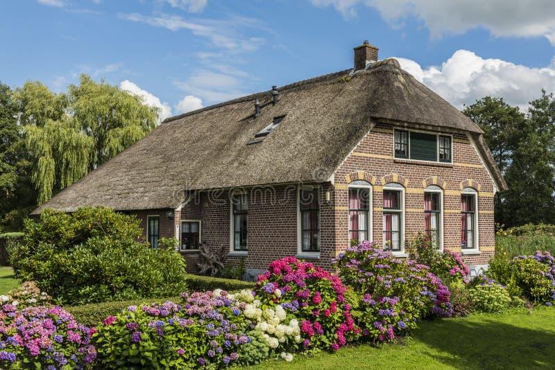 Casa com hortênsia Giethoorn Países Baixos imagens de stock