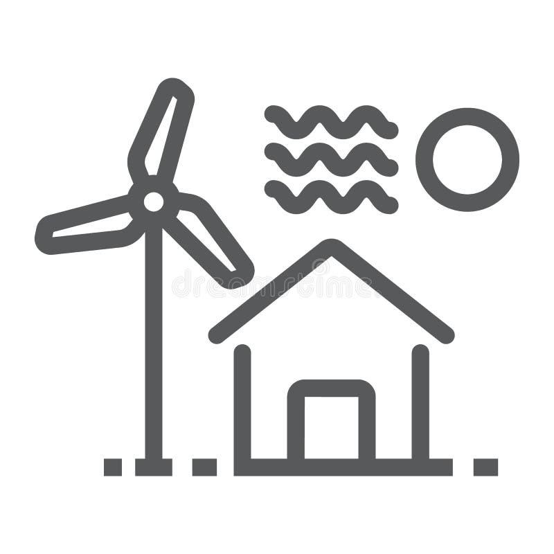 Casa com linha ícone do moinho de vento, bens imobiliários ilustração do vetor