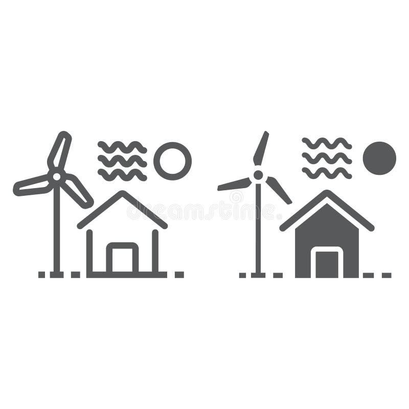 Casa com linha do moinho de vento e ícone do glyph ilustração royalty free