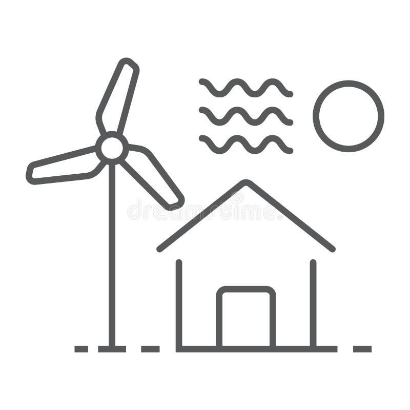 Casa com linha fina ícone do moinho de vento, bens imobiliários ilustração royalty free