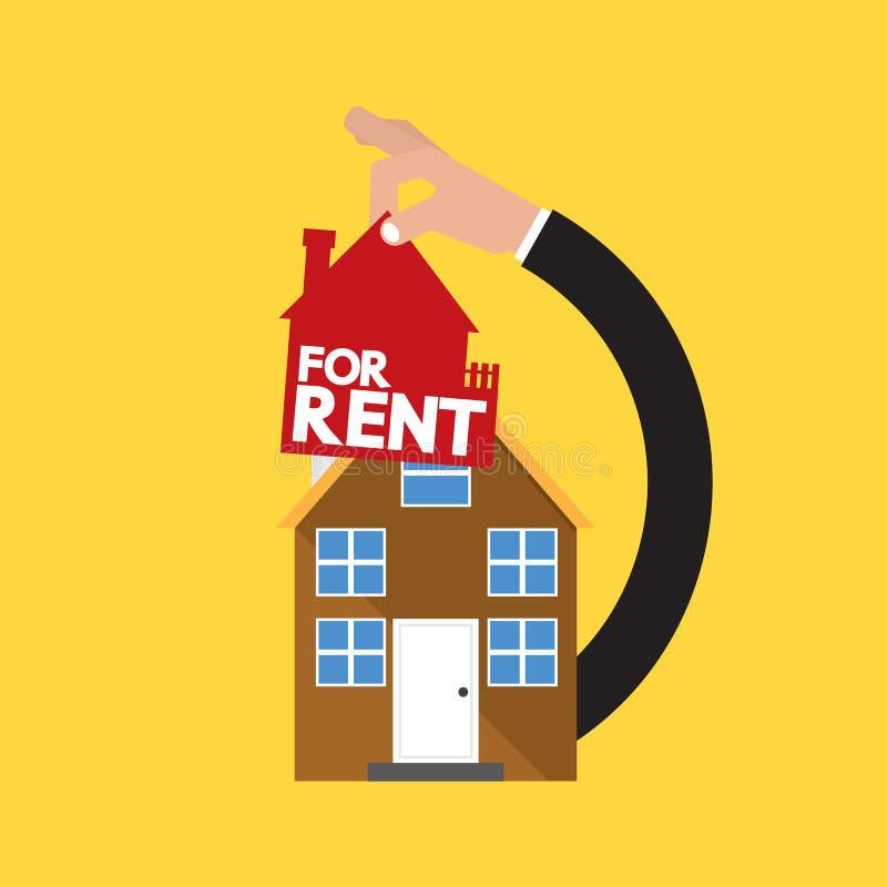 Casa com o arrendamento de Real Estate da mão conceptual ilustração royalty free